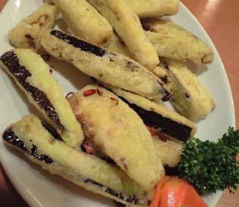 長野県産茄子の唐揚げ eggplant with spiced salt