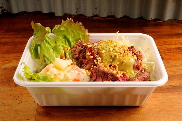 ビフテキ丼(ガーリックバター)+ポテトサラダ