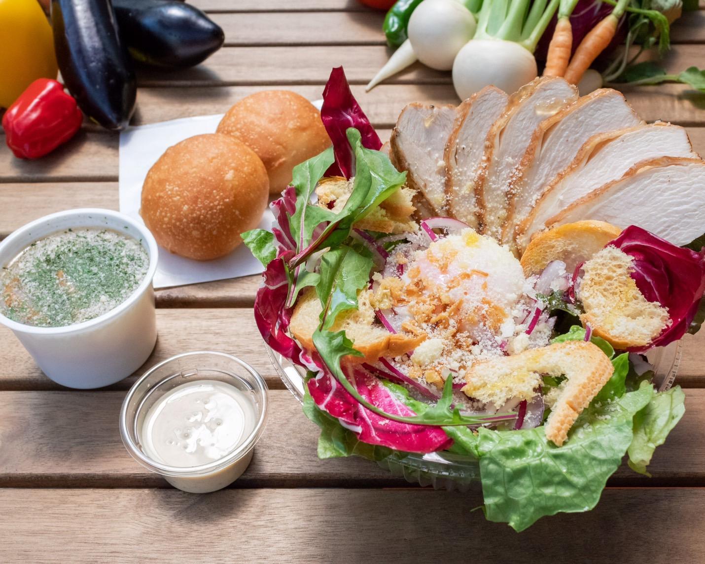 野菜labの自家製スモークチキンのシーザーサラダセット