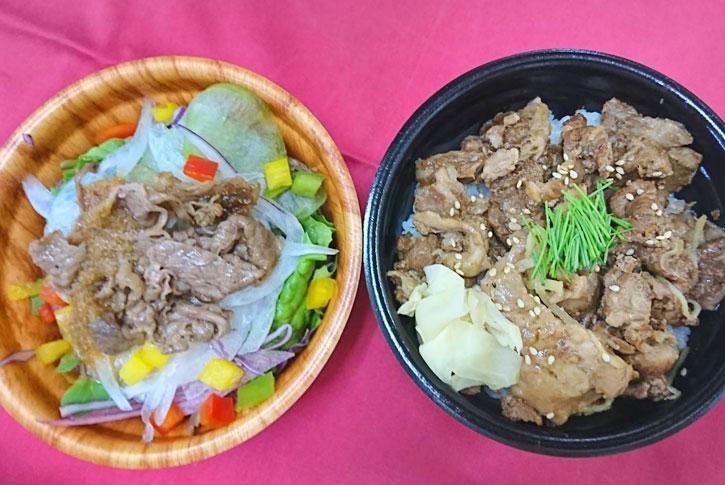 神戸牛すじ丼と焼肉サラダセット