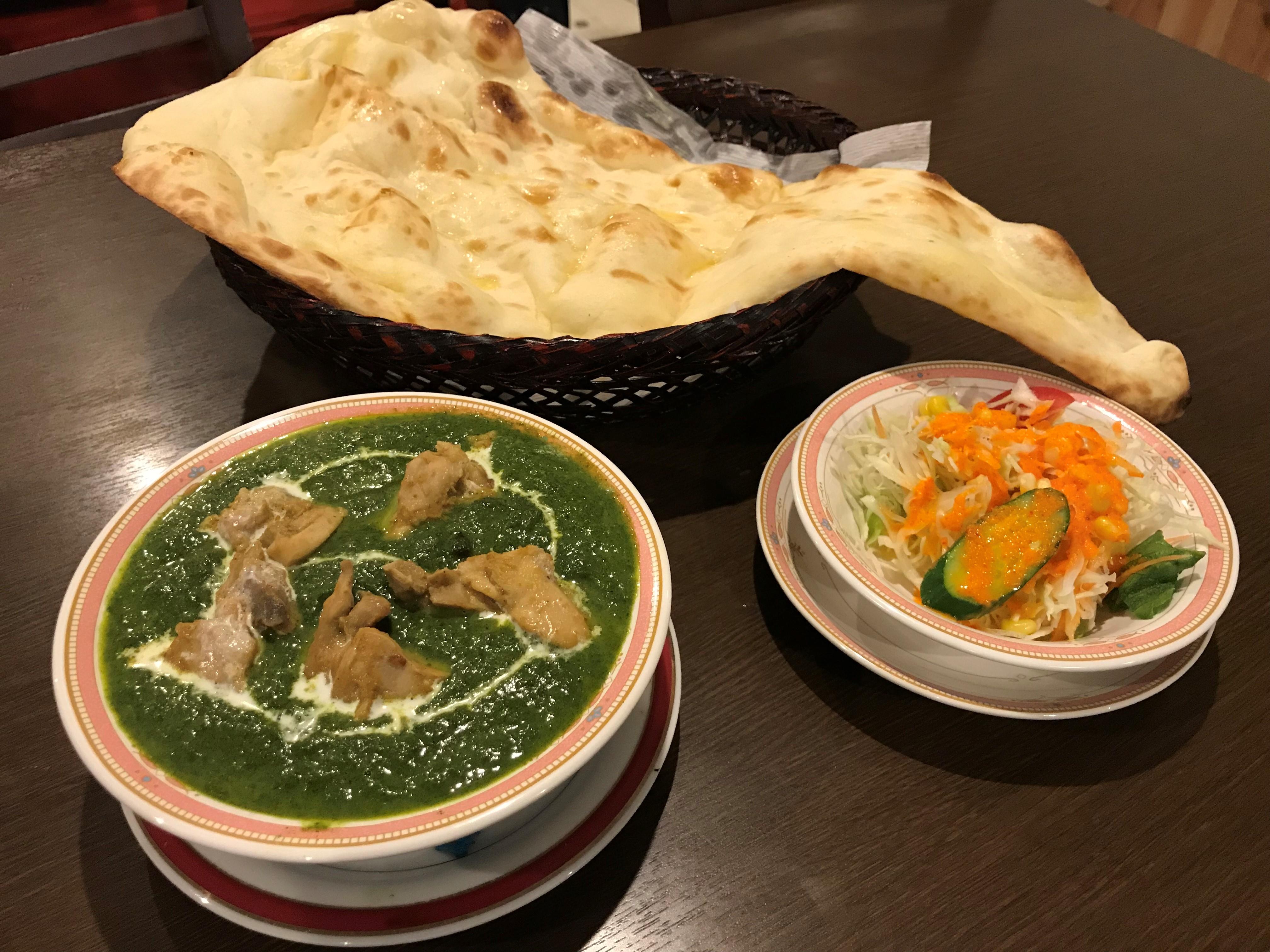 ほうれん草チキンカレーセット(Sag chicken curry set)