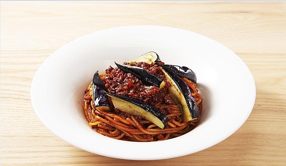 【8J】なすとAll Beef のミートスパゲッティ