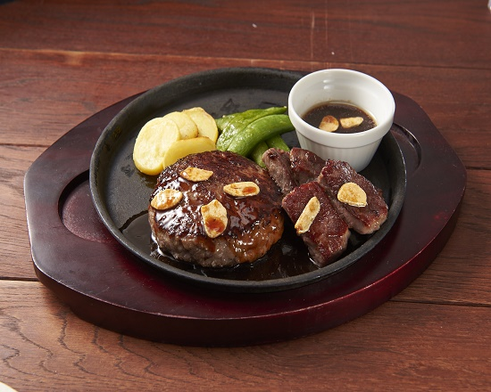 【6D】(期間限定20%OFF!!)Wビーフのグリル(カットステーキ&All BEEf ハンバーグ)~選べるソース