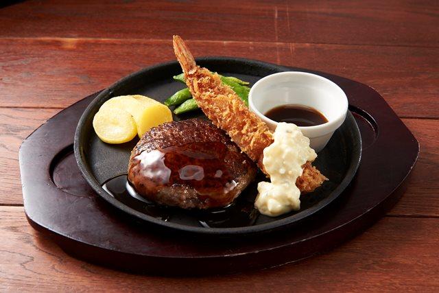 【期間限定 20%OFF】All Beef ハンバーグ&海老フライ~選べるソース