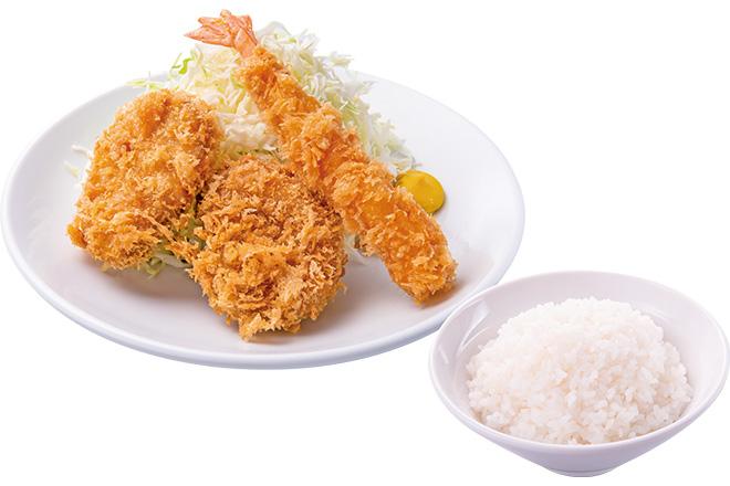 ヒレとエビフライ+ご飯
