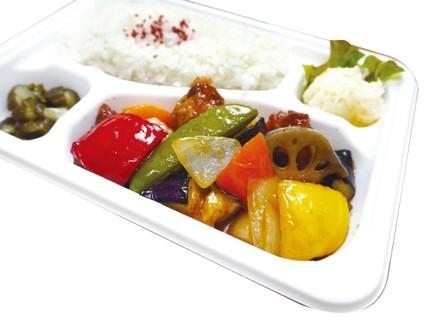ごろごろ野菜と豚の黒酢あん弁当