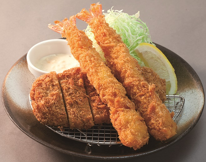 ロースかつ&海老フライ定食