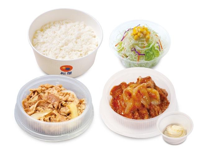 プレミアム牛皿+厚切り豚生姜焼き生野菜セット
