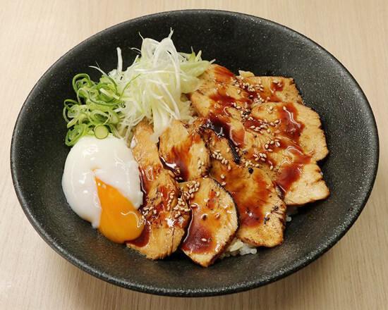 炙り鶏チャーシュー半熟玉子丼 Regular Size Roasted Chicken Rice Bowl with Soft-boiled Egg