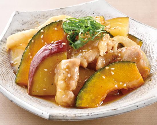 国産鶏と秋野菜の甘酢炒め