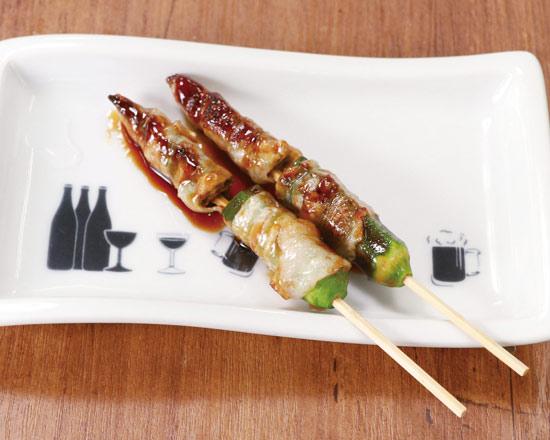 国産おくらの肉巻き串(2本)