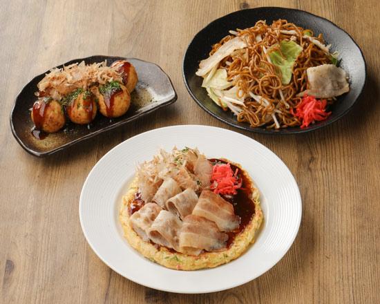 満腹セット「豚玉(大阪)+焼そば+たこ焼き」