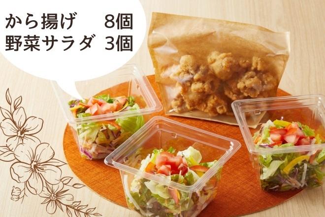 野菜サラダ3個とから揚げ8個セット