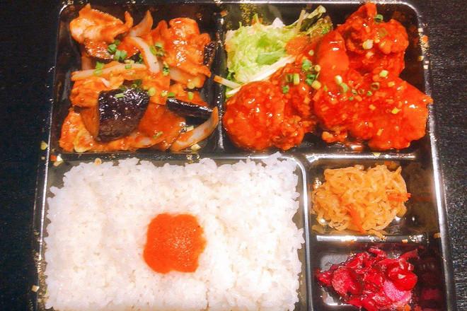 鶏チリソース+茄子味噌炒め弁当
