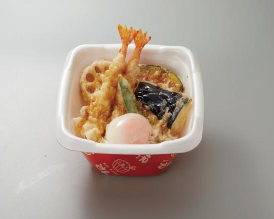 海老天丼+温泉たまご