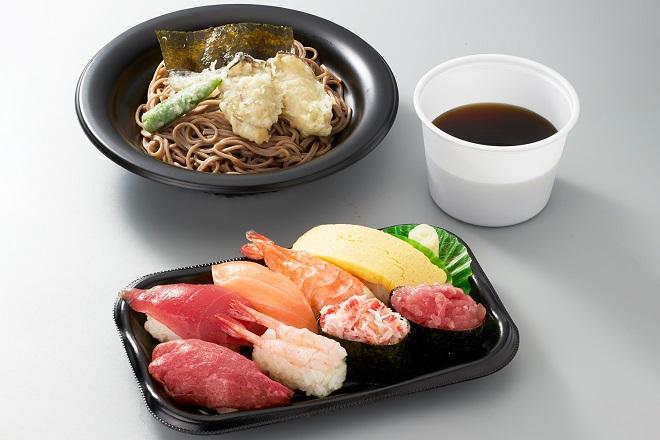 【~3/31期間限定販売】 お寿司盛り合わせと牡蠣天そばセット