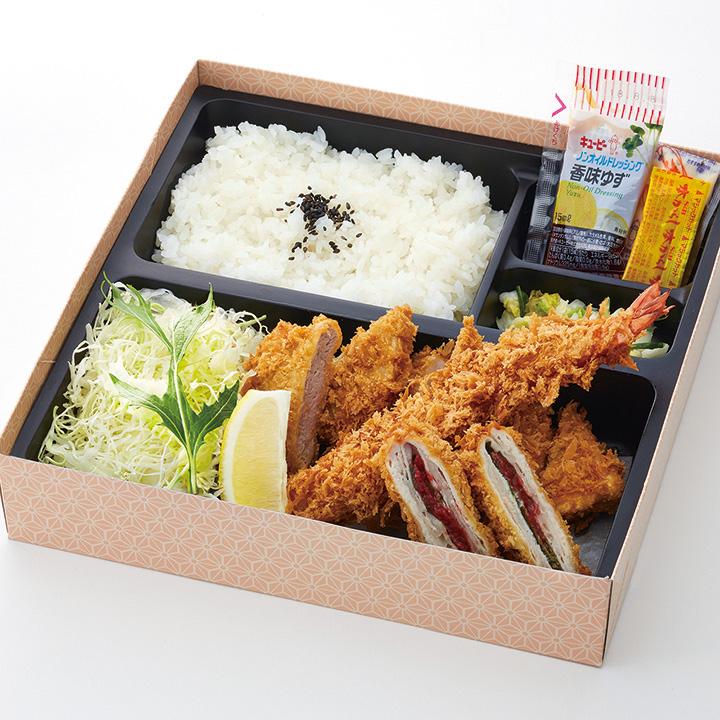 季節の弁当(梅しそミルフィーユかつ・ロースかつ・ヒレかつ・海老フライ)