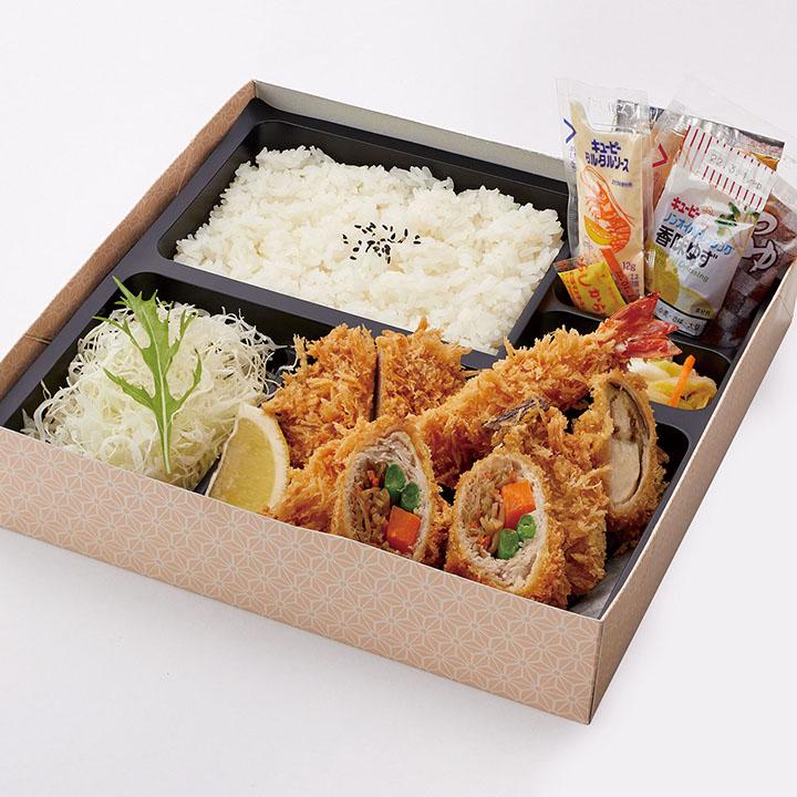 季節の弁当(ヒレかつ・海老フライ・エリンギナスロールかつ・きんぴらロールかつ)