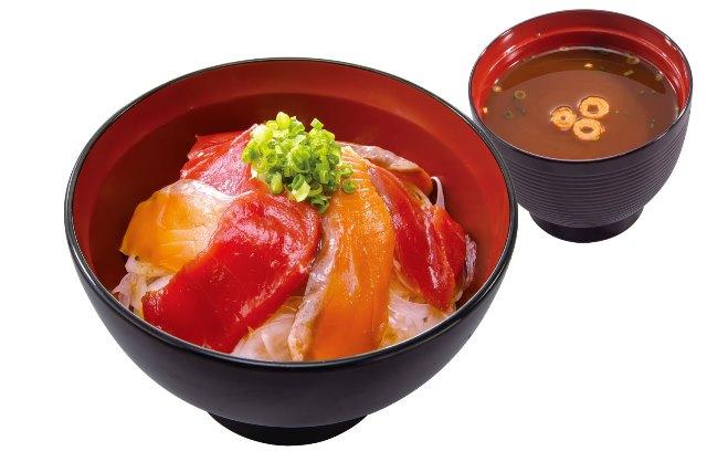 漬けまぐろサーモン丼(赤だし付)