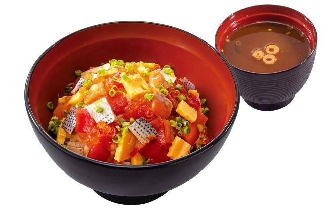 あられ丼(赤だし付) Mix sea food rice bowl with soup