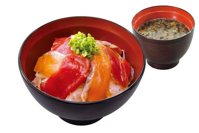 漬けまぐろサーモン丼(のり汁付)