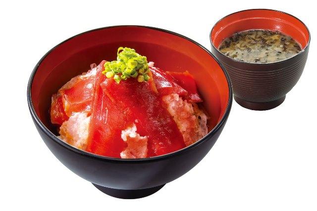 漬けまぐろネギトロ丼(のり汁付)