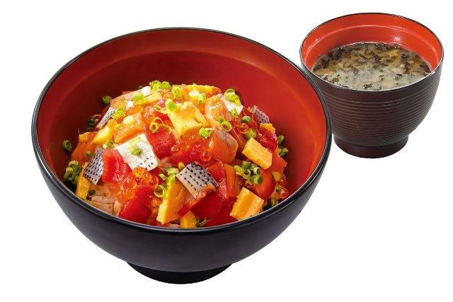 あられ丼(のり汁付) Mix sea food rice bowl with soup