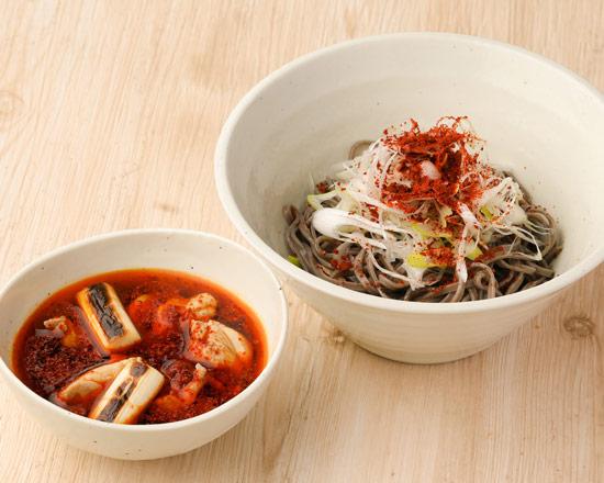鶏辛つけそば Spicy chicken dipping soba noodles