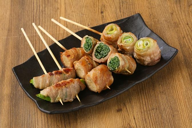 おまかせ野菜巻き串盛り合せ(4本)