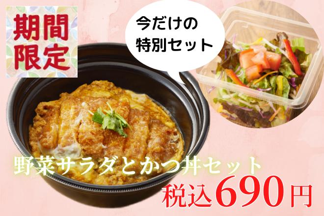 野菜サラダとかつ丼セット