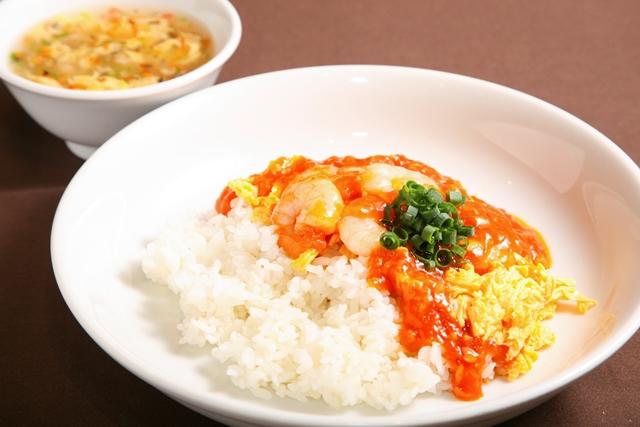 海老のチリソース丼(小籠包4個付き)