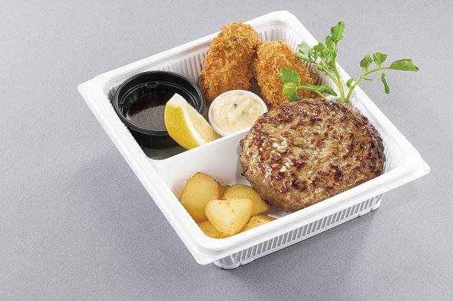 ハンバーグステーキ&広島産大粒カキフライ(ライス付)
