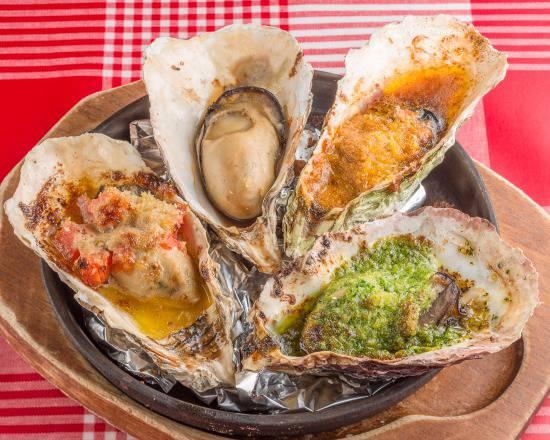 焼き牡蠣4種