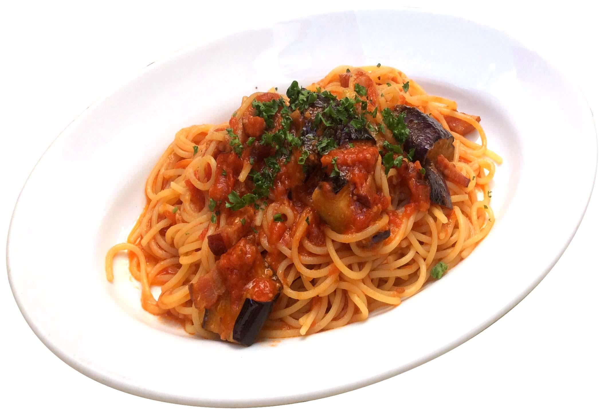 揚げ茄子とベーコンのトマトソース・スパゲッティ