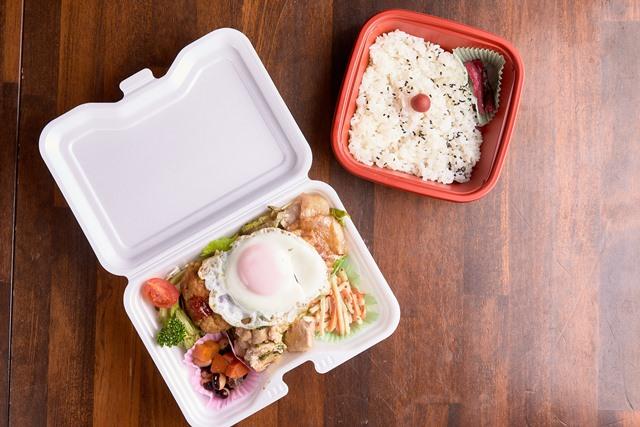 全部乗せご飯+健康卵の目玉焼きご飯